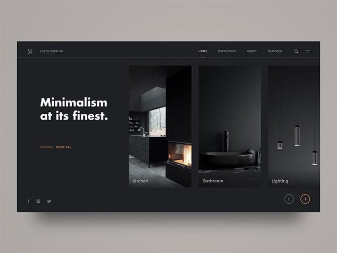 M-Interior-Design-Shop - 63+ Incredible Free Black & White Web UI Designs [year]