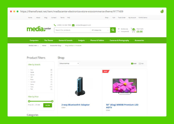 MediaCenter - 36+ Great Product Filtering WordPress E-commerce Themes [year]