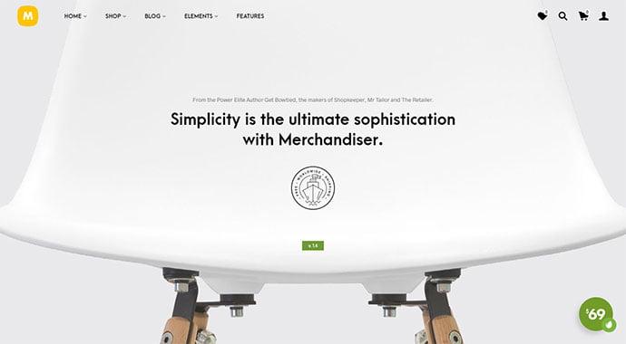 Merchandiser-1 - 34+ Impressive WordPress Minimal eCommerce Themes [year]