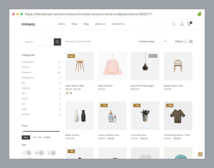 Minera - 36+ Great Product Filtering WordPress E-commerce Themes [year]