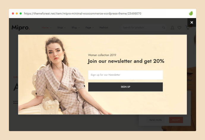 Mipro - 36+ Important WordPress Ecommerce Themes For Popup Designs [year]