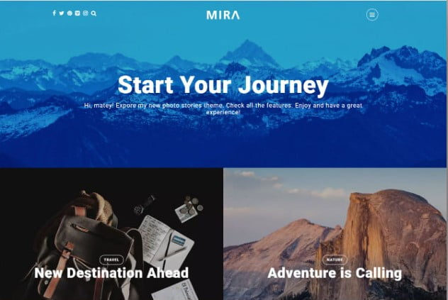 Mira - 37+ Nice WordPress Photography Blog Themes [year]