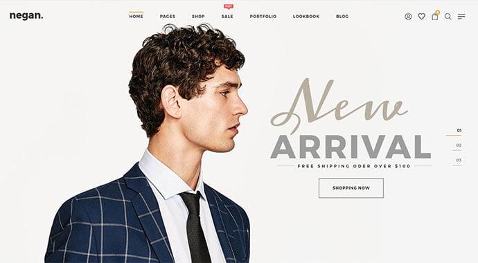Negan - 34+ Impressive WordPress Minimal eCommerce Themes [year]