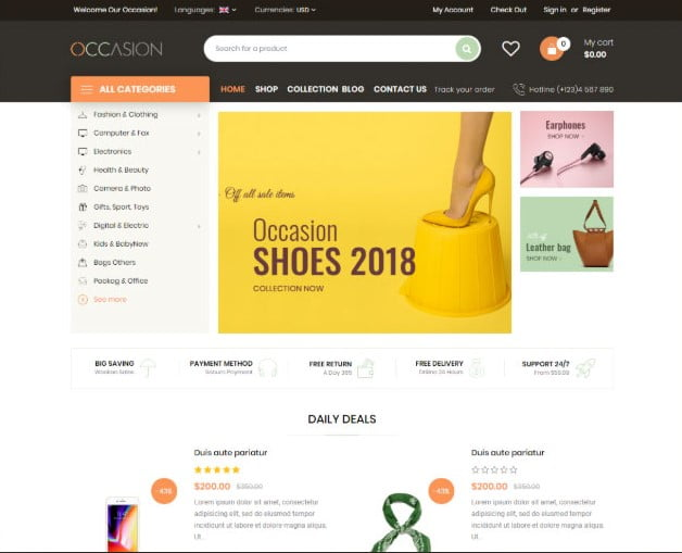Occasion - 35+ Friendly Responsive Dropshipping Shopify Theme [year]