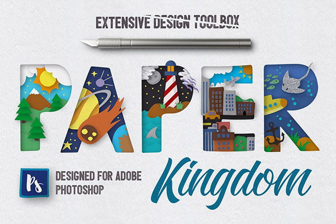 Paper-Kingdom-For-Photoshop - 36+ Amazing Fun & Playful Typography Photoshop Text Effects [year]