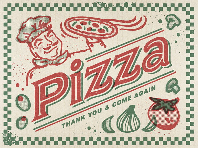 Pizza-Greeting-Card - 40+ Nice Halftone Showcase Designs Template [year]