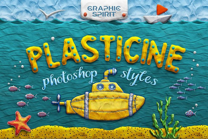 Plasticine-Photoshop-Toolkit - 36+ Amazing Fun & Playful Typography Photoshop Text Effects [year]