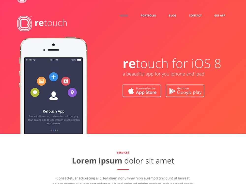 ReTouch - 40+ Nice WordPress Themes For App Showcase [year]