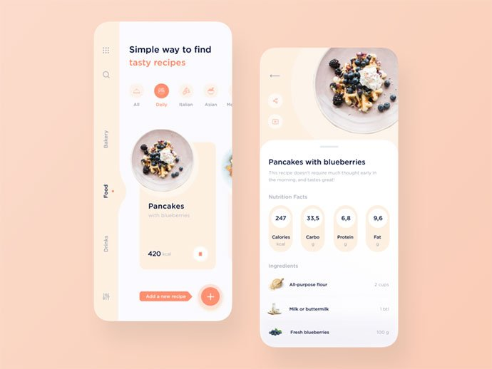 Recipe-app-design - 51+ Stunning Food & Drink Mobile App UI Design Sample [year]