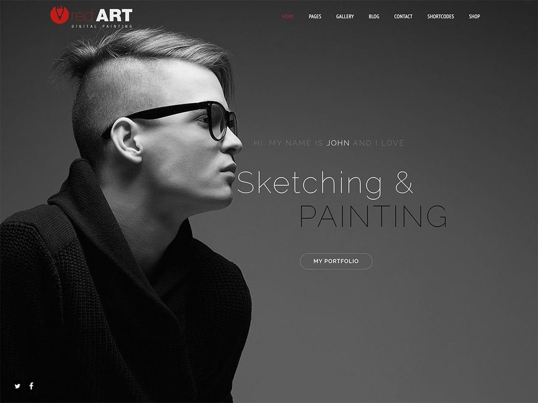 Red-Art - 31+ Amazing Artists WordPress Themes [year]