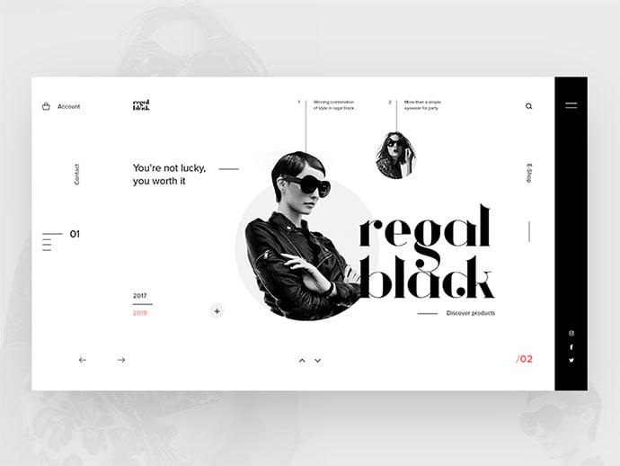 Regal-Black-Eyewear - 63+ Incredible Free Black & White Web UI Designs [year]