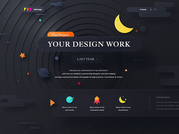 Rotating - 63+ Incredible Free Black & White Web UI Designs [year]