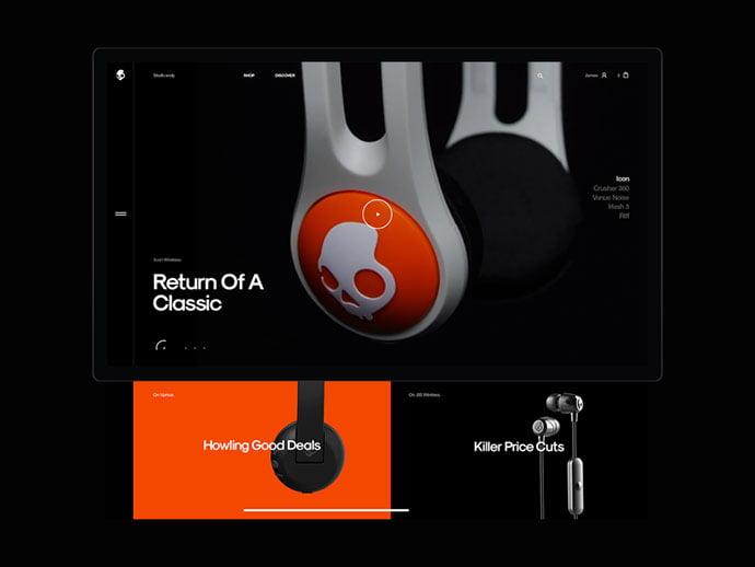 Skullcandy - 63+ Incredible Free Black & White Web UI Designs [year]