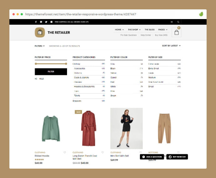 The-Retailer - 36+ Great Product Filtering WordPress E-commerce Themes [year]