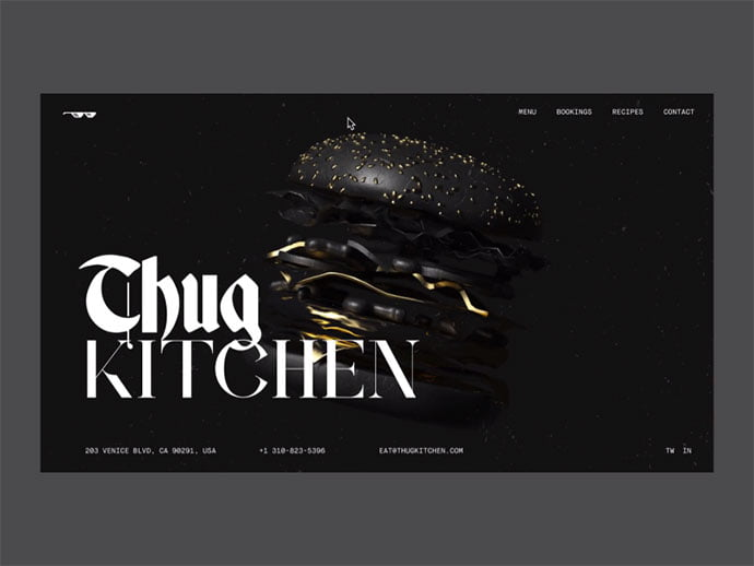 Thug-Kitchen-Restaurant-Concept - 63+ Incredible Free Black & White Web UI Designs [year]