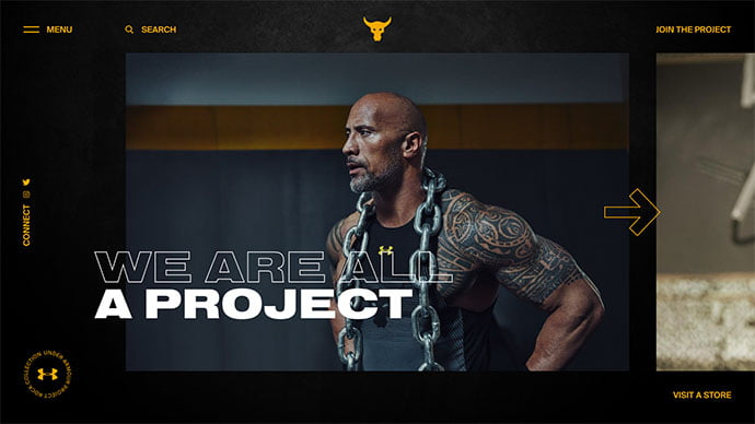 Under-Armour-Project-Rock-concept-gallery - 63+ Incredible Free Black & White Web UI Designs [year]