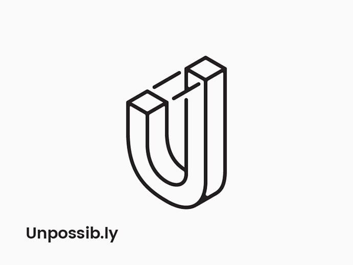 Unpossibly-U - 38+ Lovely Isometric Logo Design Sample [year]