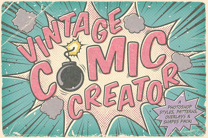 Vintage-Comic-Creator - 36+ Amazing Fun & Playful Typography Photoshop Text Effects [year]
