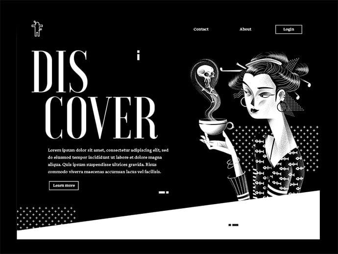 Voodoo-Spells-Landing-Page - 63+ Incredible Free Black & White Web UI Designs [year]