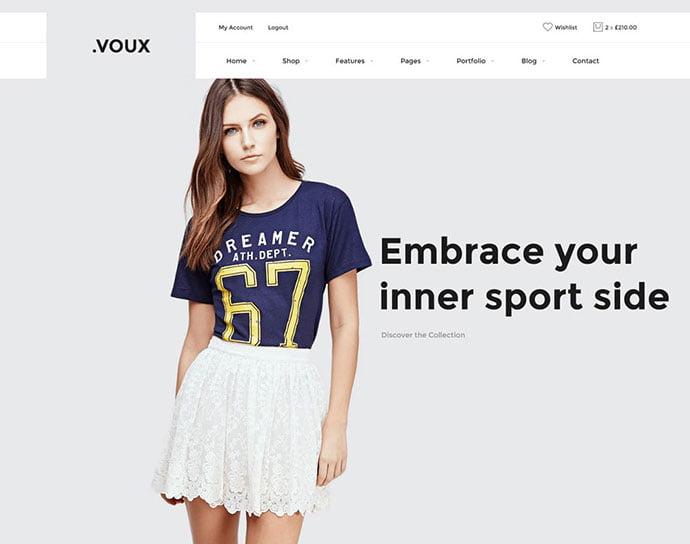 Voux - 34+ Impressive WordPress Minimal eCommerce Themes [year]