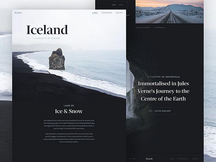 Wandr-Iceland - 63+ Incredible Free Black & White Web UI Designs [year]