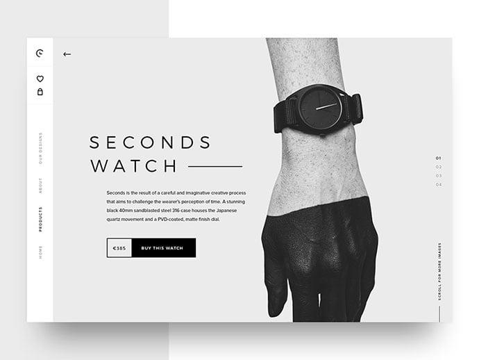 Watch-Detail - 63+ Incredible Free Black & White Web UI Designs [year]