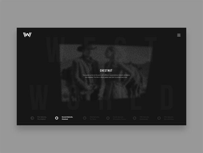 Westworld-–-concept-website - 63+ Incredible Free Black & White Web UI Designs [year]