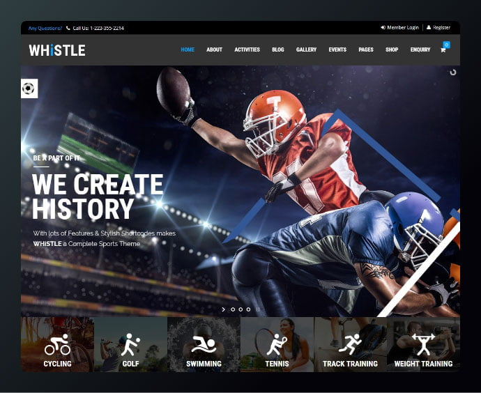 Whistle-Sport - 34+ Awesome WordPress Club Themes to Create Your Website [year]