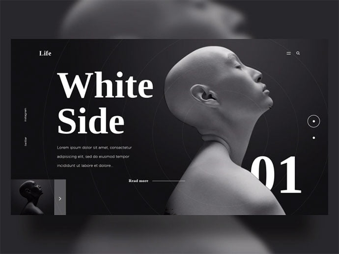 White-Black-Side - 63+ Incredible Free Black & White Web UI Designs [year]