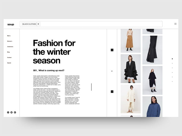 Winter-Collection - 63+ Incredible Free Black & White Web UI Designs [year]