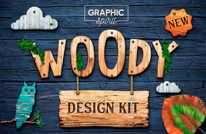 Woody-Texture-Photoshop-Styles-KIT - 36+ Amazing Fun & Playful Typography Photoshop Text Effects [year]