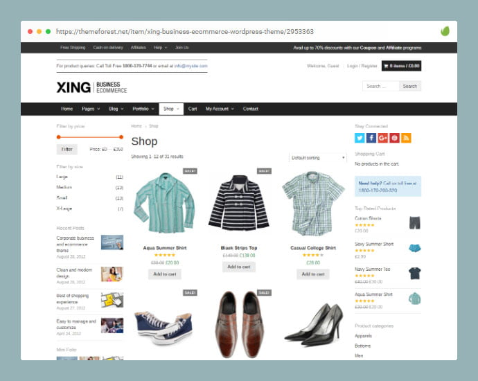 Xing - 36+ Great Product Filtering WordPress E-commerce Themes [year]
