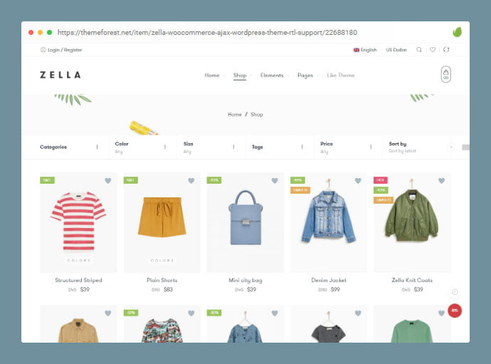 Zella - 36+ Great Product Filtering WordPress E-commerce Themes [year]