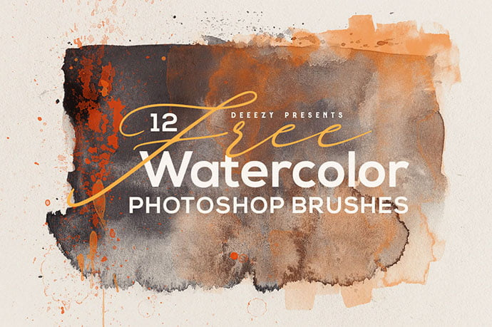12-Free-Abstract-Watercolor-Brushes - 44+ Nice Free Photoshop Brush Sets For Designer [year]