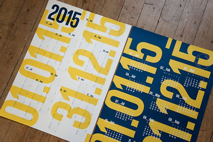 2015-Screen-printed-Calendars - 38+ Free Innovative Calendar Design Example [year]