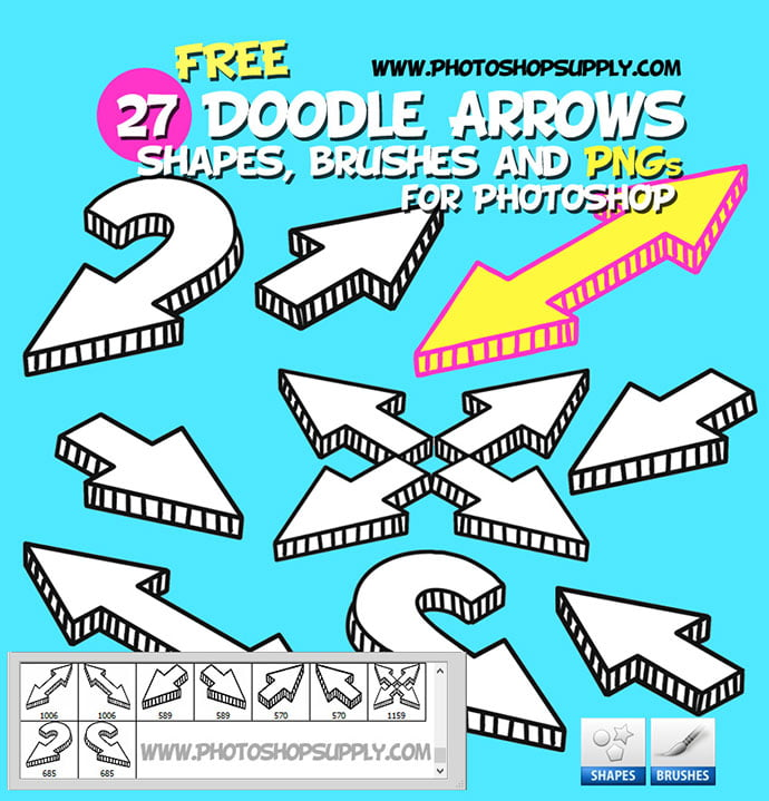 27-Doodle-Arrow-Photoshop-Brushes-Shapes-and-PNG - 44+ Nice Free Photoshop Brush Sets For Designer [year]
