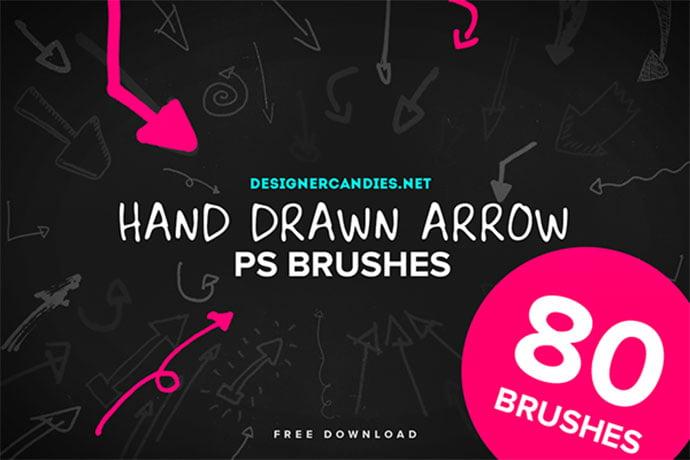80-Free-Hand-Drawn-Arrow-Brushes - 44+ Nice Free Photoshop Brush Sets For Designer [year]