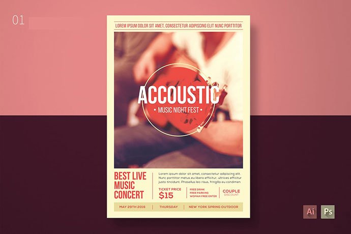 Accoustic-Music-Flyer - 48+ Lovely Flyer & Poster Design Templates [year]
