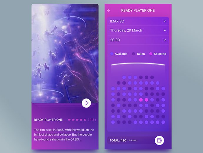 App-Cinema - 53+ NICE Free Seat Reservation App UI Design IDEA [year]
