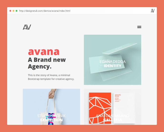 Avana - 53+ Free HTML CSS Portfolio Web Design Templates [year]