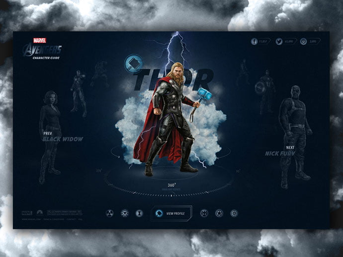 Avengers-Character-Guide - 53+ Free Nice Film & TV Website Designs IDEA [year]