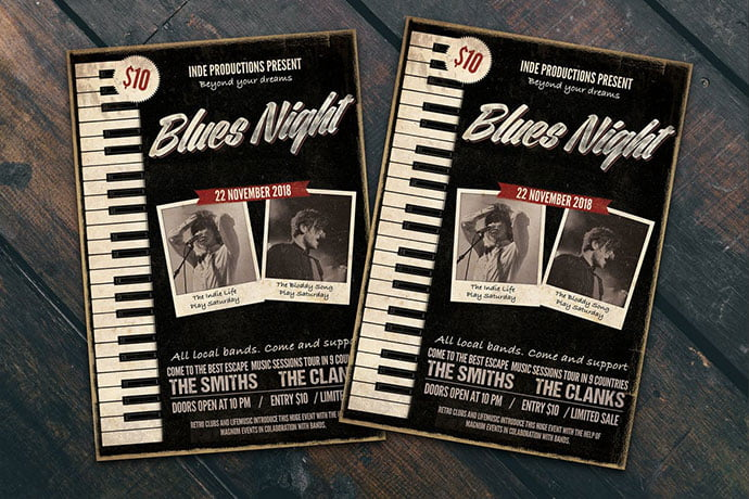 Blues-Night-Flyer-Poster - 48+ Lovely Flyer & Poster Design Templates [year]