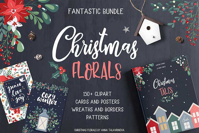 Christmas-Florals - 37+ Awesome Christmas Backgrounds, Patterns [year]