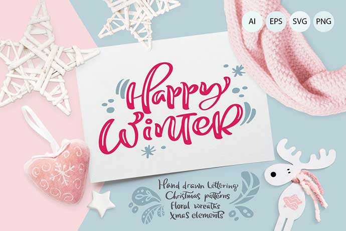 Christmas-Lettering - 37+ Awesome Christmas Backgrounds, Patterns [year]