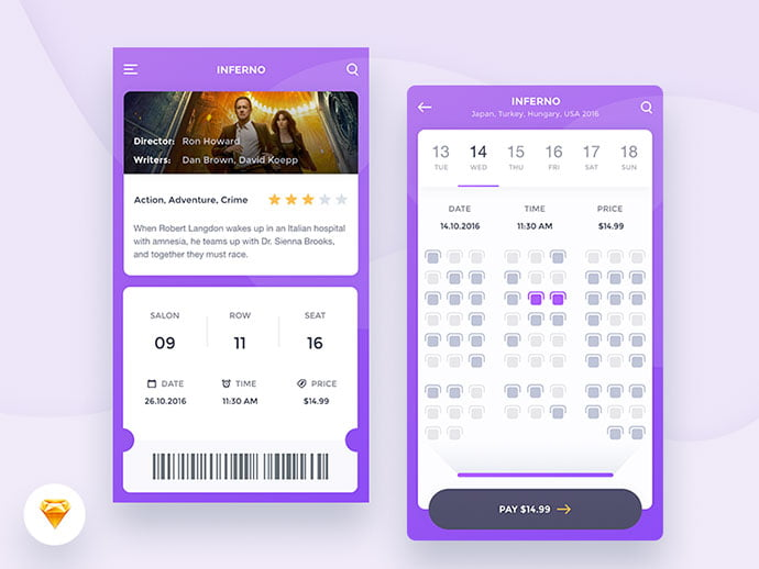 Cinema-App-Freebie - 53+ NICE Free Seat Reservation App UI Design IDEA [year]