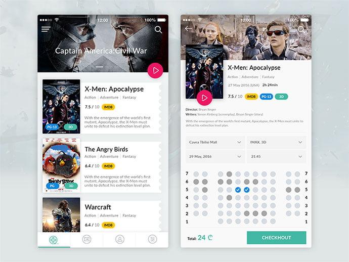 Cinema-App - 53+ NICE Free Seat Reservation App UI Design IDEA [year]