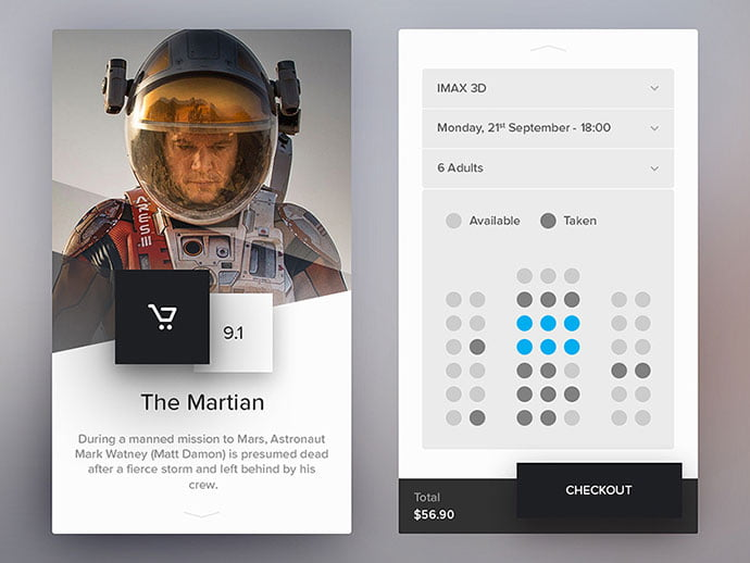 Cinema-Application-1 - 53+ NICE Free Seat Reservation App UI Design IDEA [year]