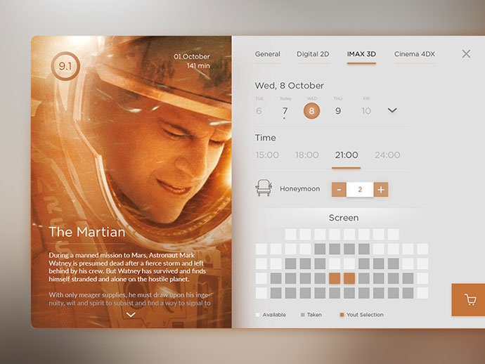 Cinema-Application-2 - 53+ NICE Free Seat Reservation App UI Design IDEA [year]