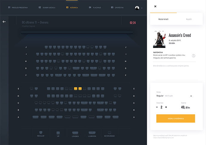 Cinema-Tickets-Booking - 53+ NICE Free Seat Reservation App UI Design IDEA [year]