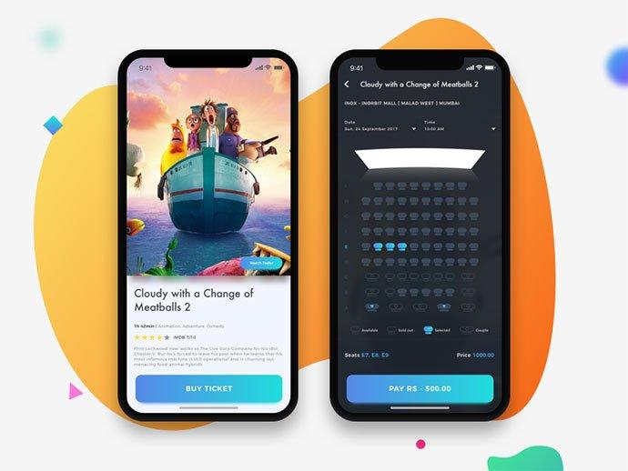 Cinema-UI - 53+ NICE Free Seat Reservation App UI Design IDEA [year]